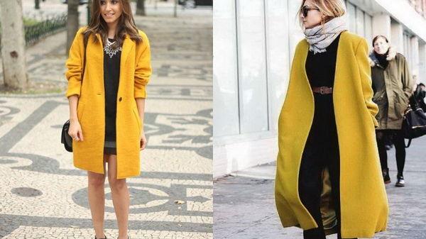 Как и с чем носить женское пальто желтого цвета